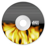 Burning cd. Illustration isolated of a compact disc with flame Royalty Free Stock Photography