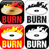 Burning CD or DVD. Icon with color scheme Stock Photography