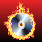 Burning CD. Or DVD  on background. Vector illustration Stock Image