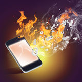 Burning cellphone Stock Images