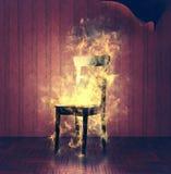 Burning chair Stock Photo