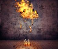 Burning chandelier Stock Photography