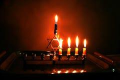 Burning Chanukiah. Fourth day of Hanukkah. Jewish stock photos