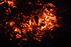Burning charcoal. Close up view of burning charcoal Royalty Free Stock Image