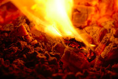 Burning charcoal. A close up of a burning charcoal Stock Photography