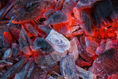 Burning charcoal as a background, texture.Close-Up, top view Stock Image
