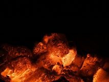 Burning charcoal in the background,Charcoal fire black backgroun. D,hot charcoal bbq grill pit Royalty Free Stock Images