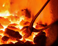 Burning charcoal in the background Royalty Free Stock Photos