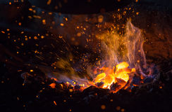 Burning charcoal background Royalty Free Stock Photos