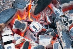 Burning charcoal in BBQ Grill Pit . Cooking, grilling. Stock Photography