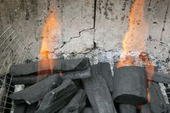 Burning charcoal in a BBQ site. In New Territories, Hong Kong Royalty Free Stock Images