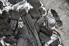 Burning charcoal Stock Photography