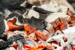 Burning charcoal. Burning charcoal, embers and ash visible Royalty Free Stock Photo