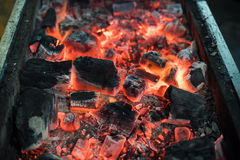 Burning Charcoal for Grill Royalty Free Stock Photography