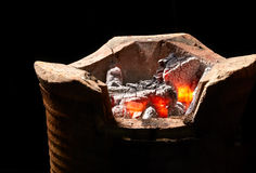Burning charcoal in old stove Royalty Free Stock Photo