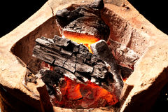 Burning charcoal in old stove. Thailand tradition stock image