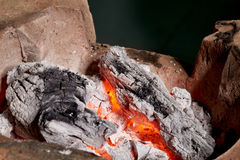 Burning charcoal in old stove. Thailand tradition stock photo
