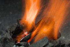 Burning Charcoal Royalty Free Stock Photography