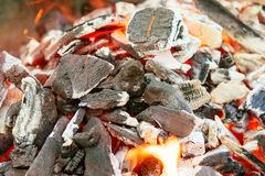 Burning charcoal with orange-colored flame and glow Selective Focus, on parts of the pieces around the Royalty Free Stock Image