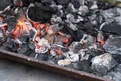 Burning charcoal ready for barbecue stock photos