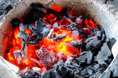 Burning charcoal in a stove. Burning charcoal in old stove Royalty Free Stock Photography