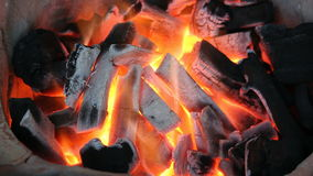 Burning charcoal stock footage