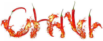 Burning chili inscription Royalty Free Stock Photo