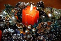 Burning christmas candle Royalty Free Stock Image