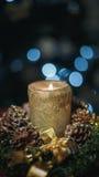 Burning Christmas candle on tree background Royalty Free Stock Image