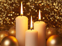 Burning christmas candles Stock Photography