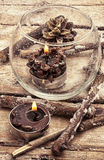 Burning Christmas candles Royalty Free Stock Images