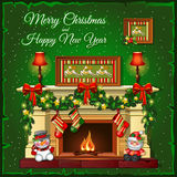 Burning Christmas fireplace on a green background. Burning fireplace on a green background Stock Photo