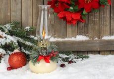 Burning Christmas Lamp Stock Image