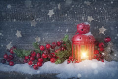 Burning christmas lantern Royalty Free Stock Image