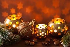 Burning christmas lanterns and decoration Royalty Free Stock Photo