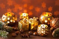 Burning christmas lanterns and decoration background Royalty Free Stock Image