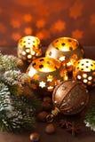 Burning christmas lanterns and decoration Stock Images