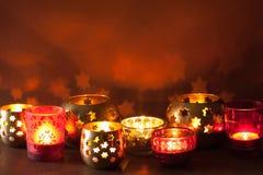 Burning christmas lanterns and decoration lights background Royalty Free Stock Images