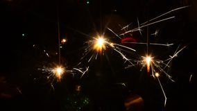 Burning Christmas sparklers stock footage