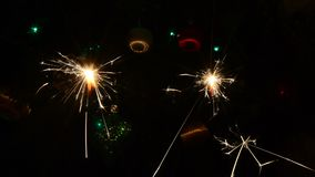 Burning Christmas sparklers stock video footage