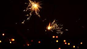 Burning Christmas sparkler stock video