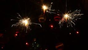 Burning Christmas sparklers stock video
