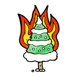 Burning christmas tree cartoon Stock Image
