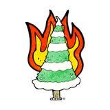 Burning christmas tree cartoon Royalty Free Stock Photography