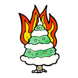 Burning christmas tree cartoon Stock Photos
