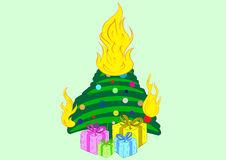 The burning Christmas tree Stock Images
