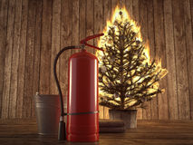Burning christmas tree with extinguisher and bucket beside. 3d rendering. 3d rendering. burning christmas tree with fire extinguisher and bucket beside royalty free stock photo