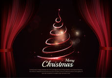 Burning christmas tree and text behind the scenes. Dark red curtain scene gracefully. Elegant vector backdrop with dark space, sparkle of lights and bokeh Stock Photography