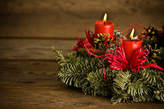 Burning christmas wreath Stock Photos