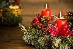Burning christmas wreath Stock Photos